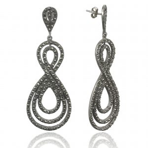 Silver earrings with marcasite stones.