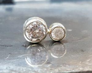 Burnt cz in an earring
