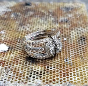 Silver cz ring after attaching sidebands