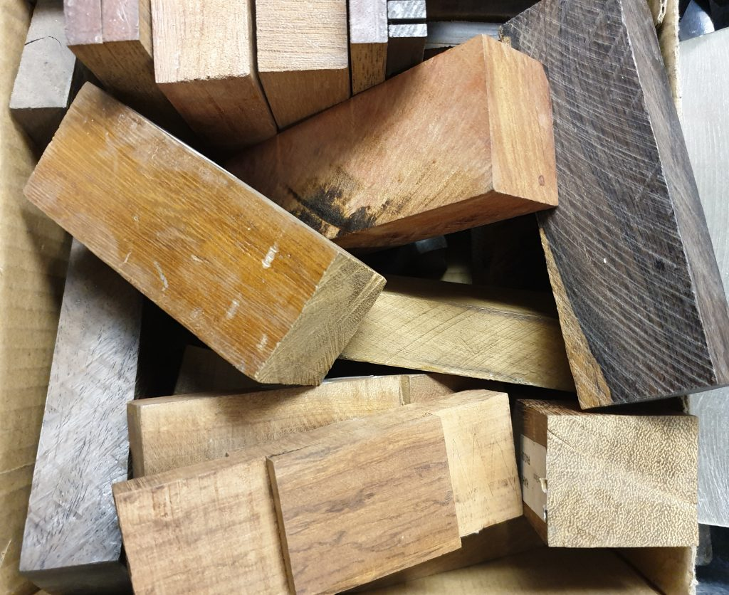 Pieces of wood from a knife making tool supplier.